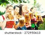 in beer garden   friends  man... | Shutterstock . vector #272950613