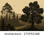 evening forest landscape  trees ... | Shutterstock .eps vector #272952188