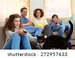portrait of a happy family with ... | Shutterstock . vector #272957633