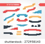 set of multicolor flat ribbons... | Shutterstock .eps vector #272958143