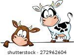 cow standing and peeks out from ...   Shutterstock .eps vector #272962604