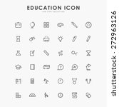 36 education minimal line icons | Shutterstock .eps vector #272963126