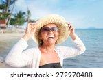 happy mature woman of 50 years... | Shutterstock . vector #272970488