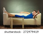 young happy man relaxing on... | Shutterstock . vector #272979419