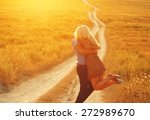 Stock photo love couple in love romantic road summer field happy 272989670