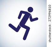 Running Man Symbol Icon. Vecto...