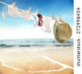 hat glasses swimsuit and rope... | Shutterstock . vector #272998454