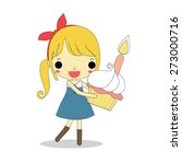 cute woman holding delicious... | Shutterstock .eps vector #273000716