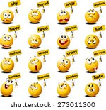 yellow balls with placards in... | Shutterstock .eps vector #273011300