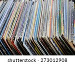 Постер, плакат: old vinyl records at