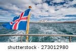 Iceland flag on boat while...