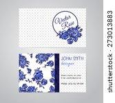 vector blue line art flowers... | Shutterstock .eps vector #273013883