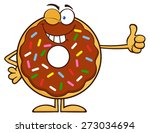 winking chocolate donut cartoon ... | Shutterstock . vector #273034694