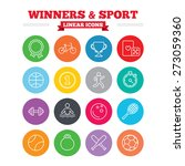 winners and sport linear icons. ... | Shutterstock .eps vector #273059360