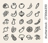 25 doodle food icons. fruits... | Shutterstock .eps vector #273066350