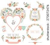 vintage floral heart shape  | Shutterstock .eps vector #273072476