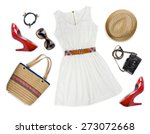 collage of tourist clothing and ... | Shutterstock . vector #273072668