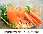 carrots and carrot juice in a... | Shutterstock . vector #273074300