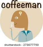 man drinking coffee with bulb...   Shutterstock .eps vector #273077750