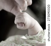 new born baby girl held by her... | Shutterstock . vector #273090320