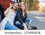 young attractive woman summer... | Shutterstock . vector #273090878