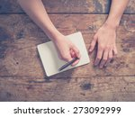 close up on the hands of a... | Shutterstock . vector #273092999