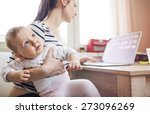 young mother in home office... | Shutterstock . vector #273096269