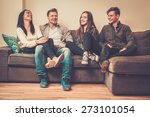 cheerful multi ethnic friends... | Shutterstock . vector #273101054