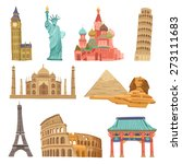world landmarks flat icons... | Shutterstock .eps vector #273111683