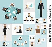 colorful business meeting icons ... | Shutterstock .eps vector #273111698