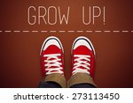 Small photo of Grow Up Reminder for Young Person in Red Sneakers about to make a Step and Join the Party, Top View