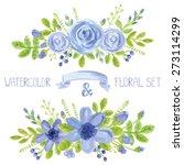 watercolor blue  flowers green...   Shutterstock .eps vector #273114299