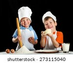 Little Boys Making Pizza Or...
