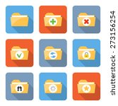 flat folder icons with long...