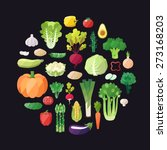 vegetable vector circle... | Shutterstock .eps vector #273168203