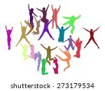 vector silhouettes of jumping... | Shutterstock .eps vector #273179534