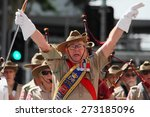 Small photo of BRISBANE, AUSTRALIA - APRIL 25 : Military band performing along march during Anzac day centenary commemorations April 25, 2015 in Brisbane, Australia