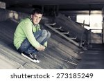 teen boy in depression outdoor | Shutterstock . vector #273185249
