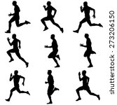 set of silhouettes. runners on... | Shutterstock . vector #273206150