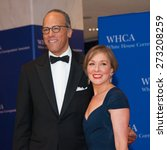 Small photo of WASHINGTON APRIL 25 Lester Holt and wife Carol Hagen arrives at the White House Correspondents Association Dinner April 25, 2015 in Washington, DC