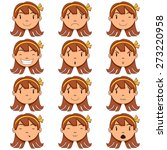 Girl Face Expressions  Vector...