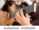 practicing in playing guitar.... | Shutterstock . vector #273232646