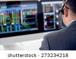 businessman in a headset... | Shutterstock . vector #273234218