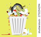 garbage can full of trash.... | Shutterstock .eps vector #273254294