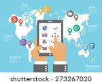 businessman hold phone and... | Shutterstock .eps vector #273267020