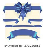 collection blue ribbons and bow | Shutterstock .eps vector #273280568