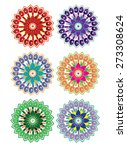 flower pattern set  vector  | Shutterstock .eps vector #273308624