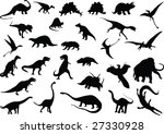 vector silhouettes of dinosaurs ... | Shutterstock . vector #27330928