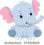 Stock vector cute baby elephant cartoon 273318323