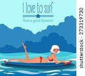 Hot Girl On A Surfboard. Vecto...